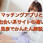 マッチングアプリと出会い系サイトの違い~早見表でかんたん解説!~